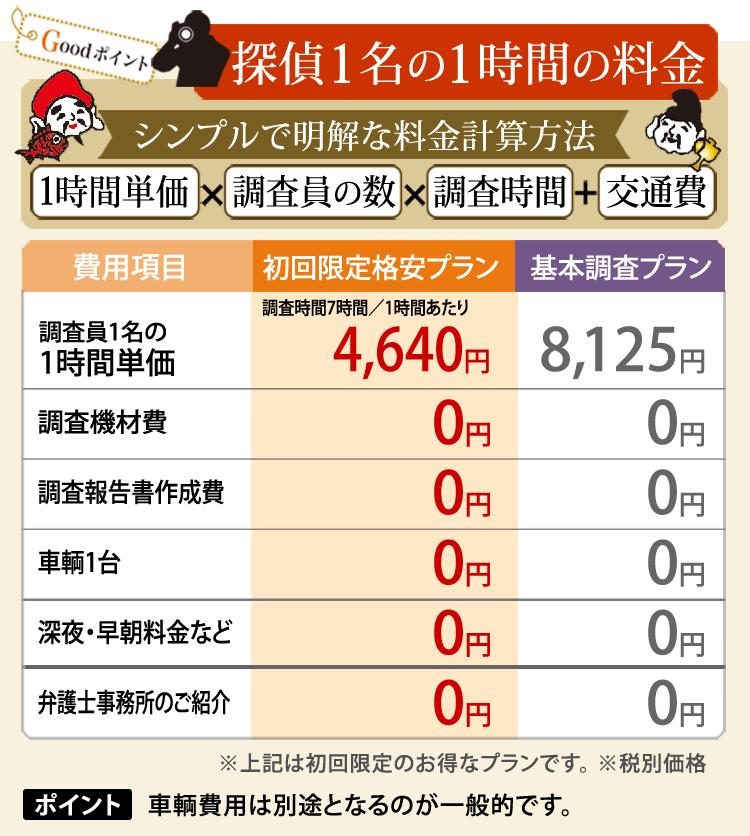 初回限定、埼玉の探偵1名の調査費用詳細