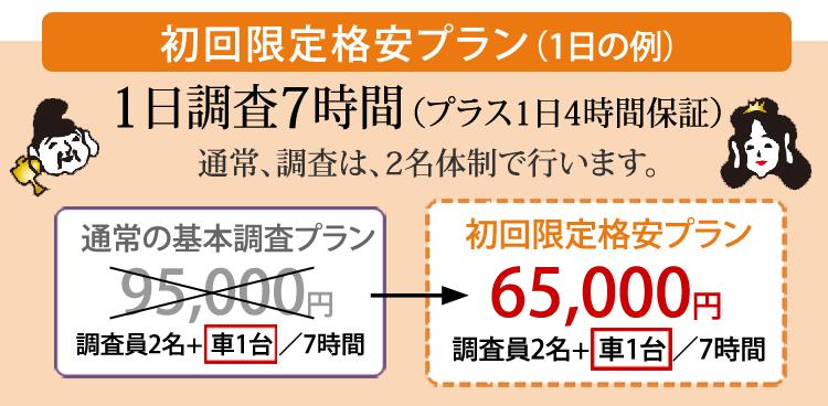 初回限定格安プラン 1日調査7時間 65,000円 埼玉県さいたま市 七福探偵事務所